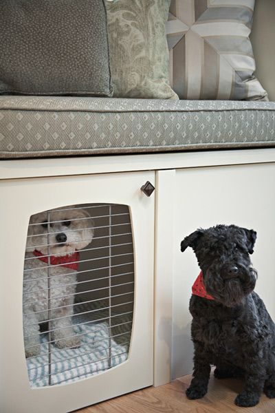 built in storage living room | Built In Dog Crate - Transitional - living room - Pure by Ami Mckay