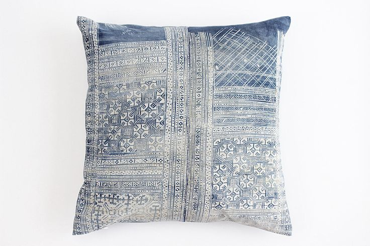 Boho Bohemian Rare Vintage HMONG Pillow Textile Batik Hand dyed Embroidered Ethnic Textile Blue Navy Nautical Pillow Case (stains) 15 by Tshaj on Etsy