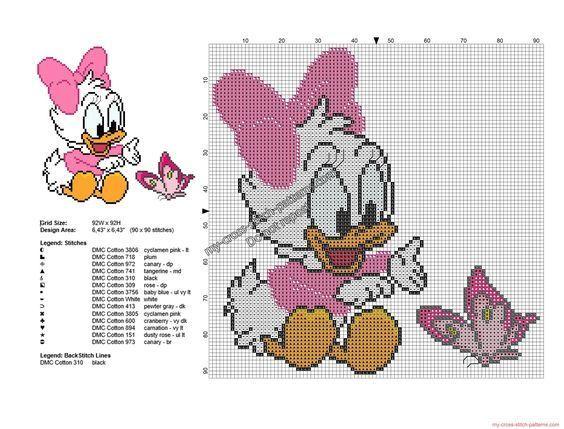 Disney baby Daisy Duck avec papillon grille point de croix