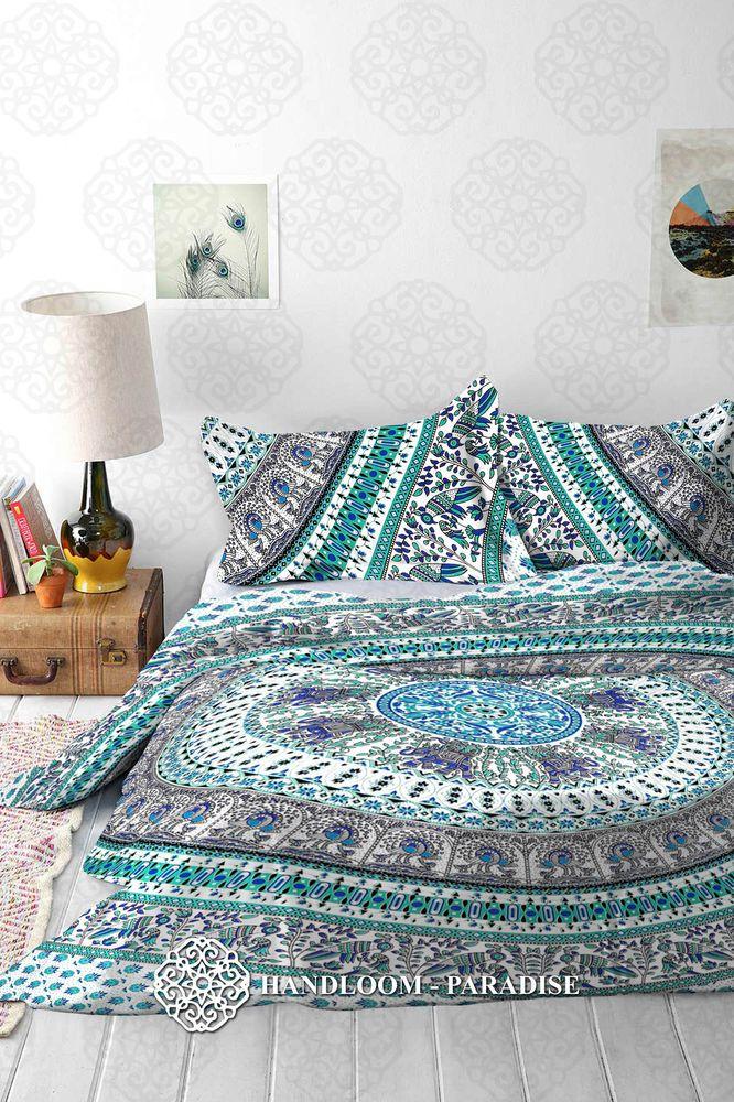 Indian Cotton Mandala Double King Size Bed Quilt Duvet Doona Cover Blanket Boho in Home, Furniture & DIY, Bedding, Bed Linens & Sets   eBay