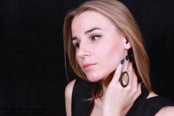 Кольцо Сахара. Красивое коричневое плетеное кольцо с от Vladbeads