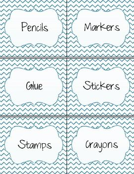 Stylish Classroom Labels- Teal Color