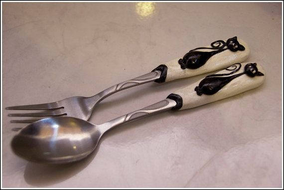 Polymer clay enhanced stylised cat teaspoon and cake fork set
