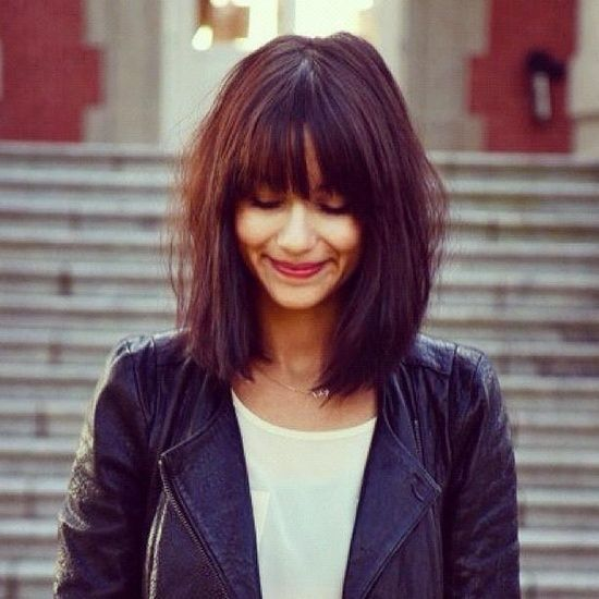 Long bob haircut with bangs #bangs #bobhaircut