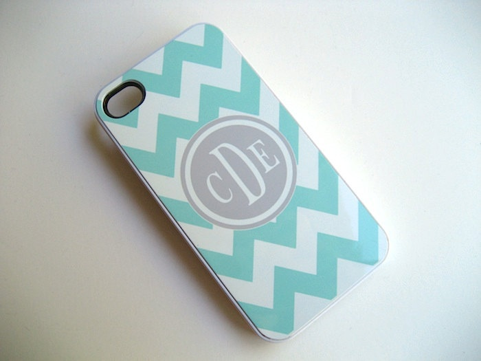 iphone case Tiffany Blue and White Chevron iPhone 4 Case with Gray Monogram - iPhone 4 4S Cover- Blue and Gray - Hard Plastic WHITE Case. $15.99, via Etsy.
