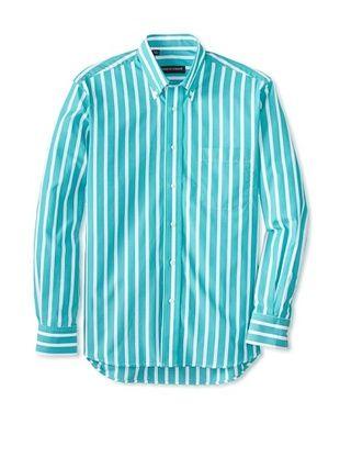 61% OFF Kenneth Gordon Men's Striped Button-Down Sportshirt (Green)
