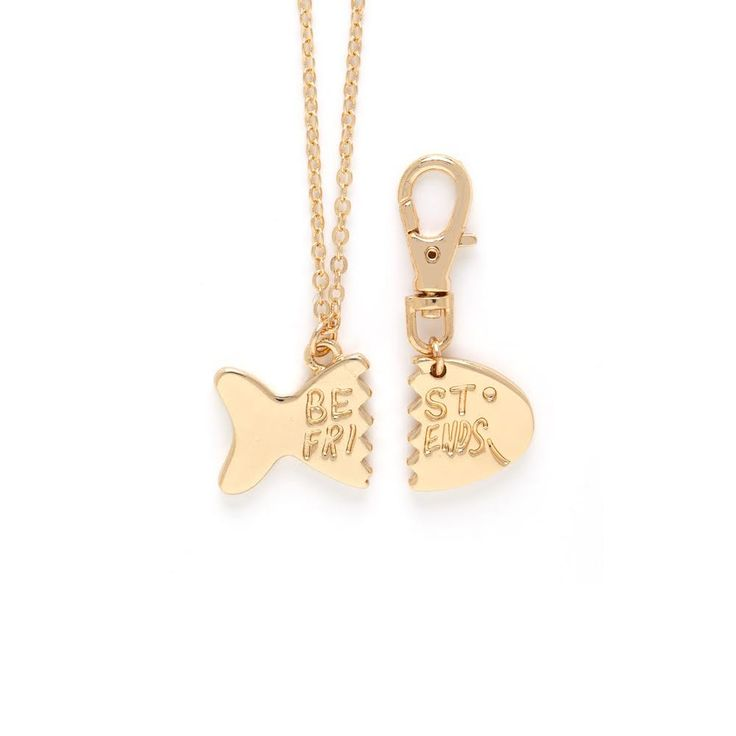 """CAMERON ROSE FOR CAT: GOLD FISH """"BEST FRIENDS"""" CHARM NECKLACE AND COLLAR"""