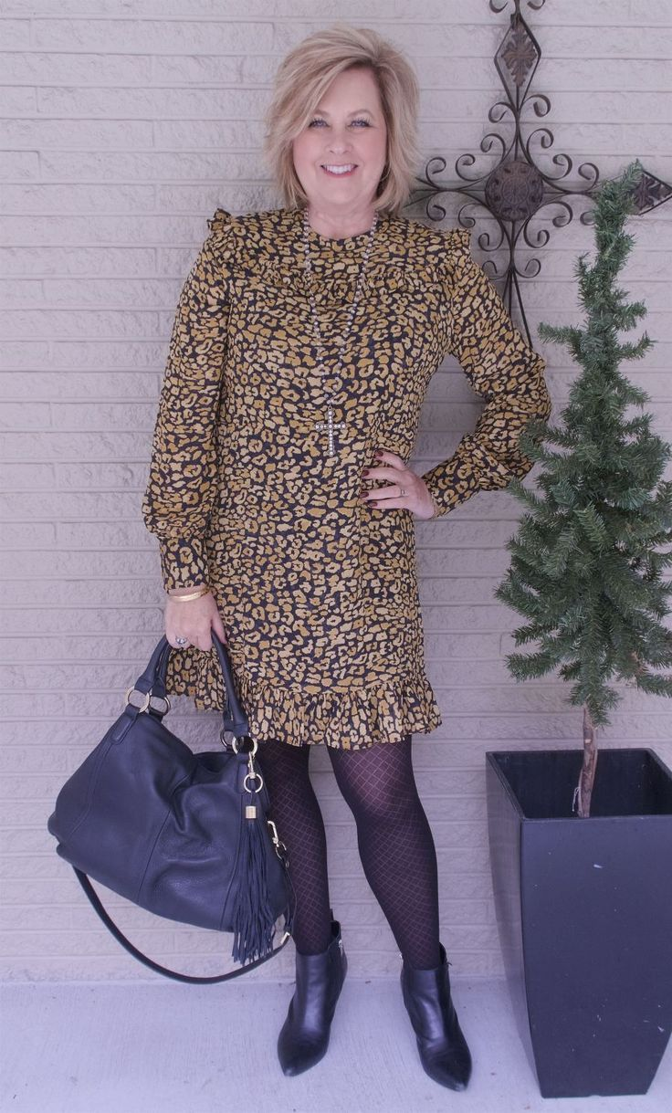 50 IS NOT OLD | HOW TO WEAR A CHEETAH PRINT | Dress | Office appropriate | tights | ankle boots | Fashion over 40 for the everyday woman