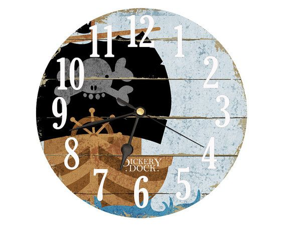 Pirate Ship Clock. Decoupage handmade clock in Black Gray Brown Aqua . 8 inch diameter. Kids clock. Bedroom clock. Pirate decor. on Etsy, $20.00