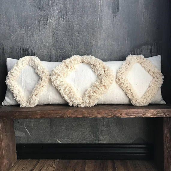 Long Offwhite African Mudcloth Pillow Cream Mud Cloth Pillow Boho Pillow Tribal Handira Berber Boho Cushions African Mud Cloth African Mudcloth Pillow