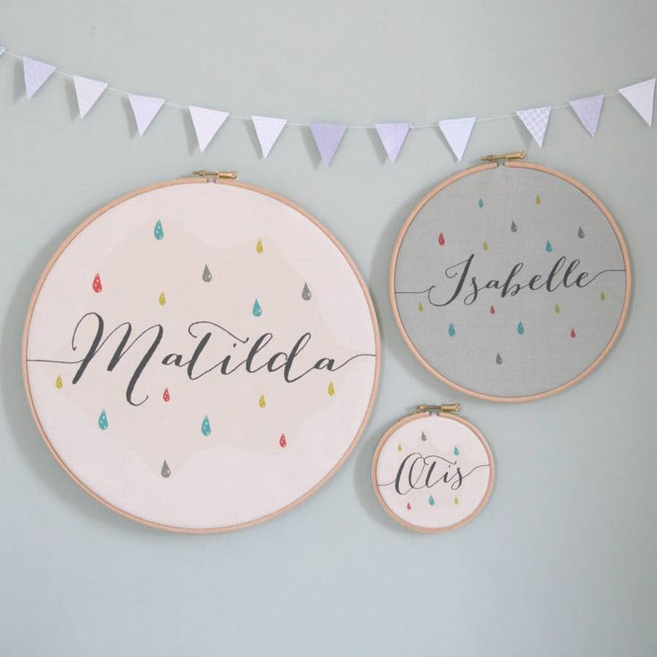 Personalised Baby Name Hoop - Like the hoop and fabric idea, but not keen on the raindrops.
