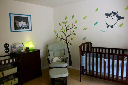 Totoro nursery, wall stickers & trees!