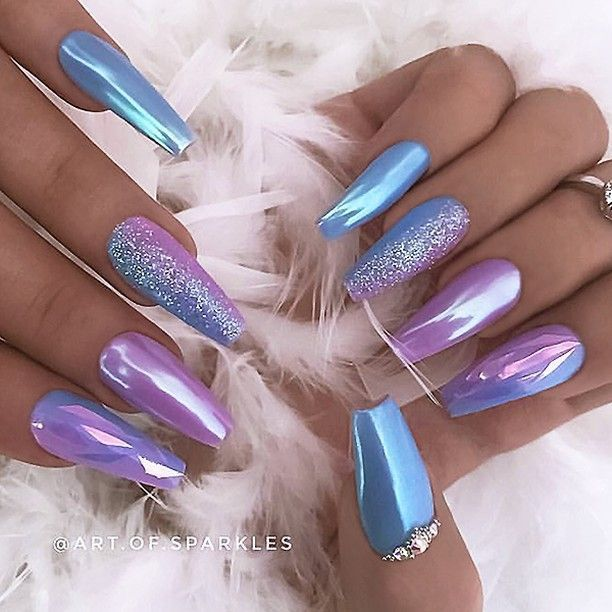 REPOST – – – – Lilac-Pink and Sky-Blue with Chrome Effect Glitter and Mylar Foil…
