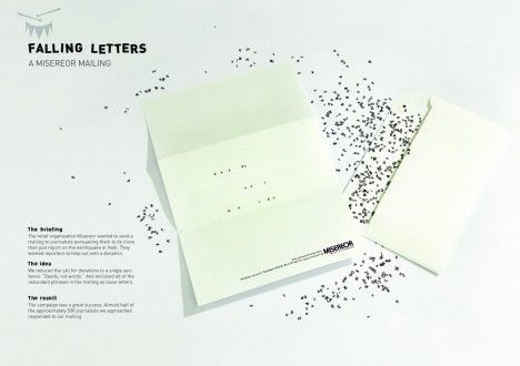 Falling letters by Misereor