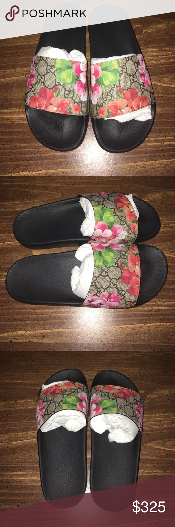 🆕 Gucci Supreme Blooms Slide Sandal Brand New Gucci Supreme Slide Sandal with a floral and logo print strap defines a well-cushioned sandal featuring a molded rubber footbed for all-day comfort. Textile or synthetic upper/rubber lining and sole. Made in Italy. Gucci Shoes Slippers