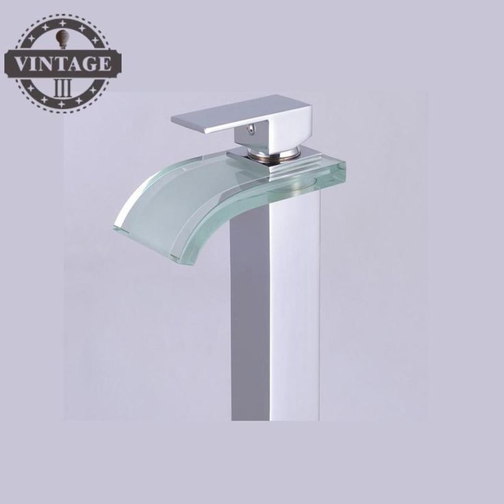 Free Shipping Glass and Brass Basin Faucet Chrome Polish Bathroom Tap Hot and Cold Water Tap