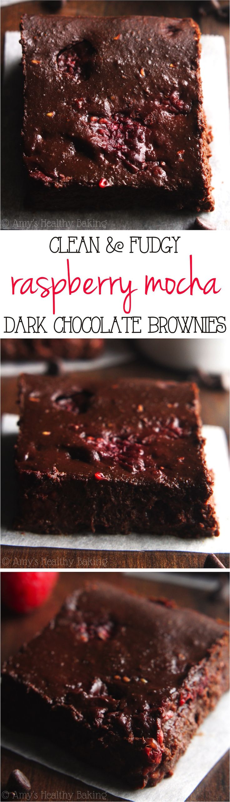 Clean-Eating Raspberry Mocha Brownies -- these skinny brownies don't taste healthy at all! They're insanely rich, as easy as a box mix & only 80 calories!