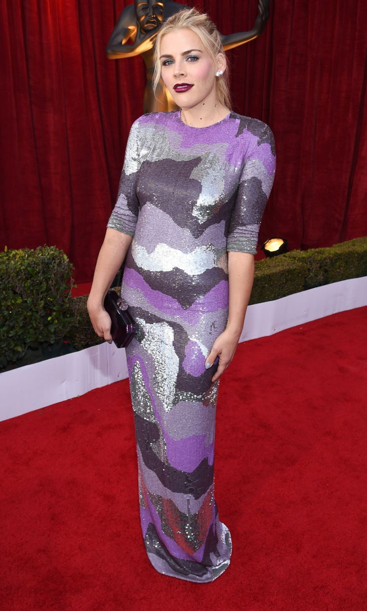 BUSY PHILIPPS wears a lavender, violet, and silver abstract sequin Jeffrey Dodd gown with Jacob & Co. jewelery at the 2017 Screen Actors Guild Awards.