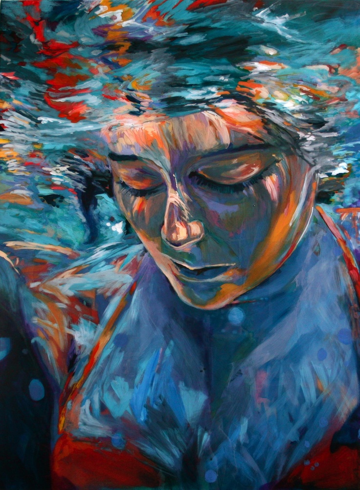 Scout Cuomo's Submerged series explores figures immersed in water. Her paintings relish in the every shifting, dappled light as it plays across the body in water.  There is a tangible, physical depth in her works created by alternating layers of acrylic paint and epoxy