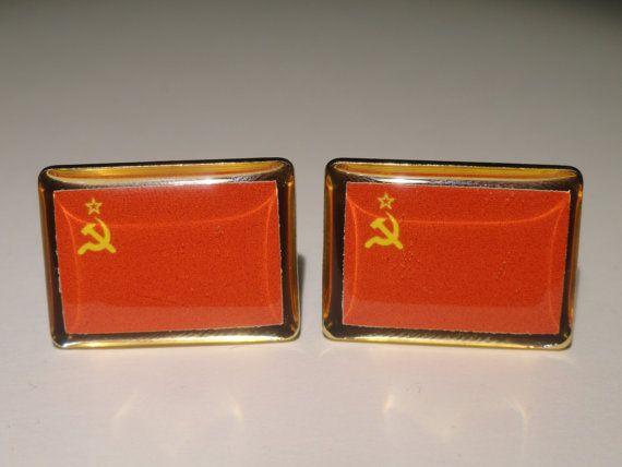 Soviet Union Flag Cufflinks by LoudCufflinks on Etsy