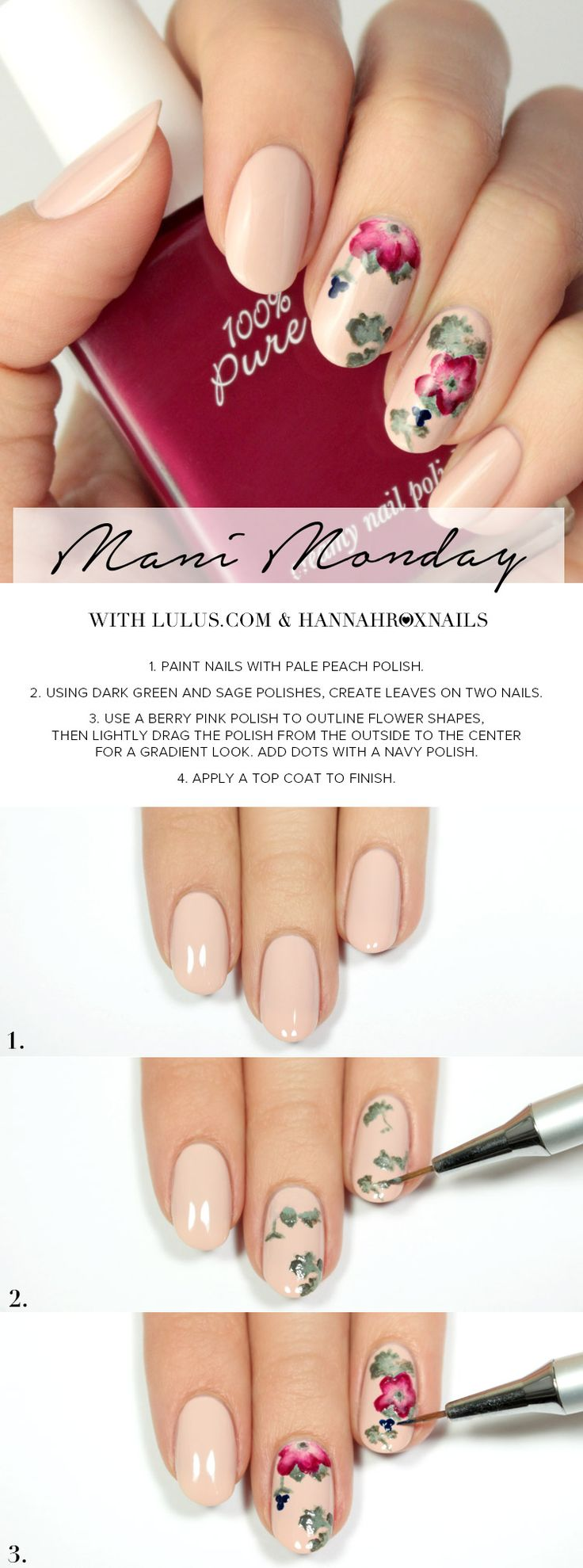 Mani Monday: Peach Floral Print Nail Tutorial | Lulus.com Fashion Blog | Bloglovin'