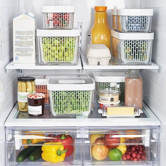 """Brand-New Kitchen Gadgets: Produce Keepers """"GreenSaver"""" from OXO: elevated baskets, adjustable vents, carbon filters- 14.99-24.99"""