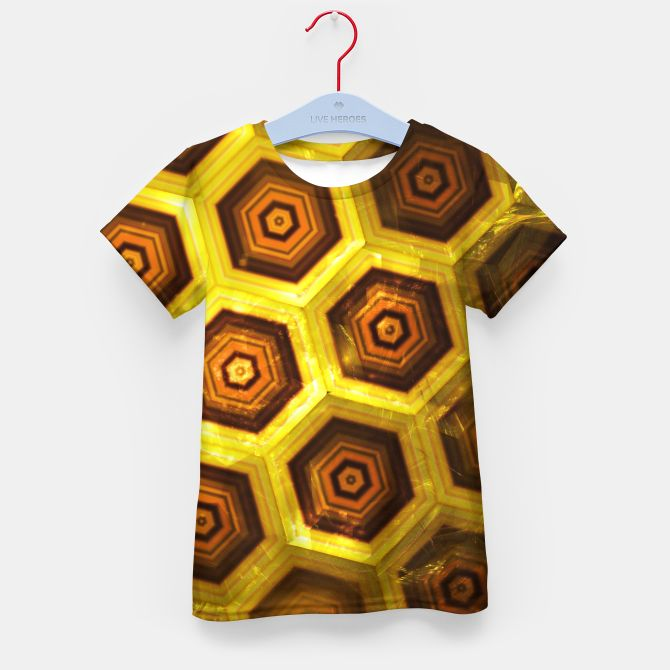 Gold Honeycombs Kid's T-shirt, Live Heroes @liveheroes by @photography_art_decor. All product: https://liveheroes.com/en/brand/oksana-fineart #fashion #clothing #online #shop #gold #golden #honeycombs #honey #bee #summer #graphic #design #geometry #geometric #yellow #metalic #bright #shine #pattern #psychedelic #abstract #metalic #sun #abstract #briht #pattern  #trendy #stylish #fashionable #modern #awesome #amazing #clothes