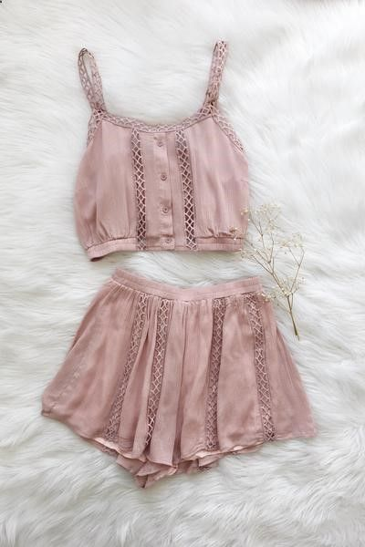 Details Size Shipping • 100% Rayon • Crop top and highlights short two piece set. • Hand Wash • Line dry • Imported • Measured from small • Length 15.5 • Chest