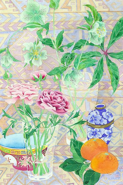 Ranunculus and Hellebores in glasses   - Watercolour and pencil on Arches paper by Gabby Malpas