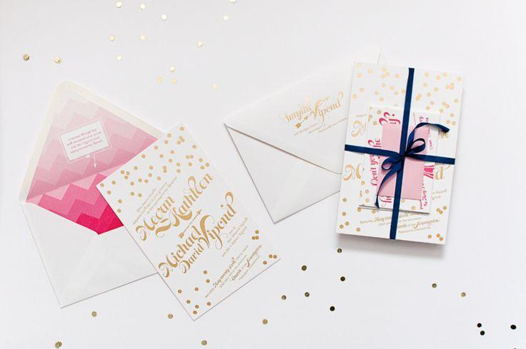 Invitation: Coral Pheasant Stationery + Design - coralpheasant.com  Read More: http://www.stylemepretty.com/little-black-book-blog/2013/04/25/kate-spade-inspired-wedding-invitation-from-coral-pheasant-stationery-design/