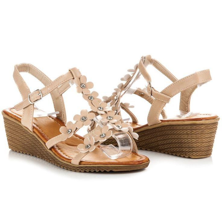 Klinové sandále s kvetmi 9-30A