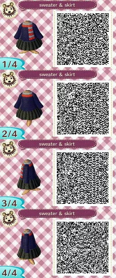 ACNL QR Code: Sweater & Skirt with Scarf