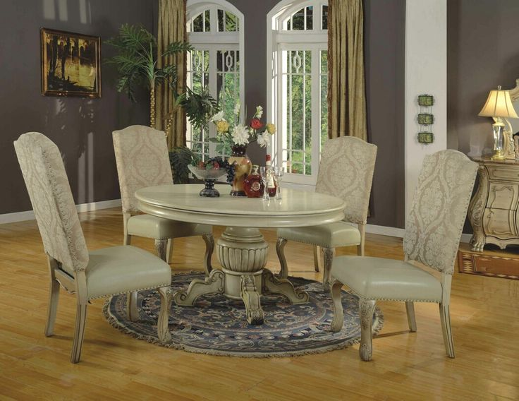5 Pc Penelope II Collection Antique White Finish Wood Round Pedestal Dining  Table Set With 2