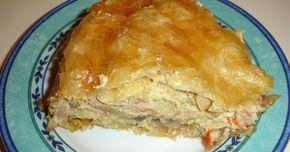 Υλικά 8 φύλλα κρούστας 1 πακέτο μανιτάρια 250 γρ. μπέικον 3 λουκάνικα Φρανκφούρτης 1 κόκκινη πιπεριά ψιλοκομμένη 1 πράσινη π...