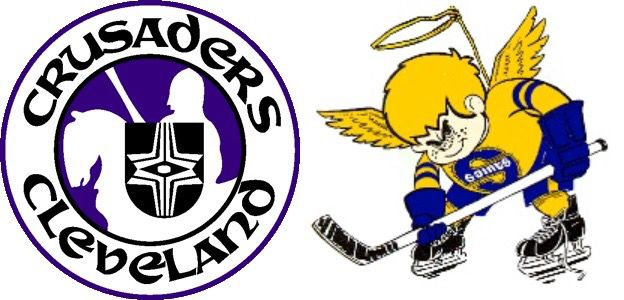 Logos of WHA teams: The Cleveland Crusaders (such a sick logo) and who they became - the Minnesota Fighting Saints
