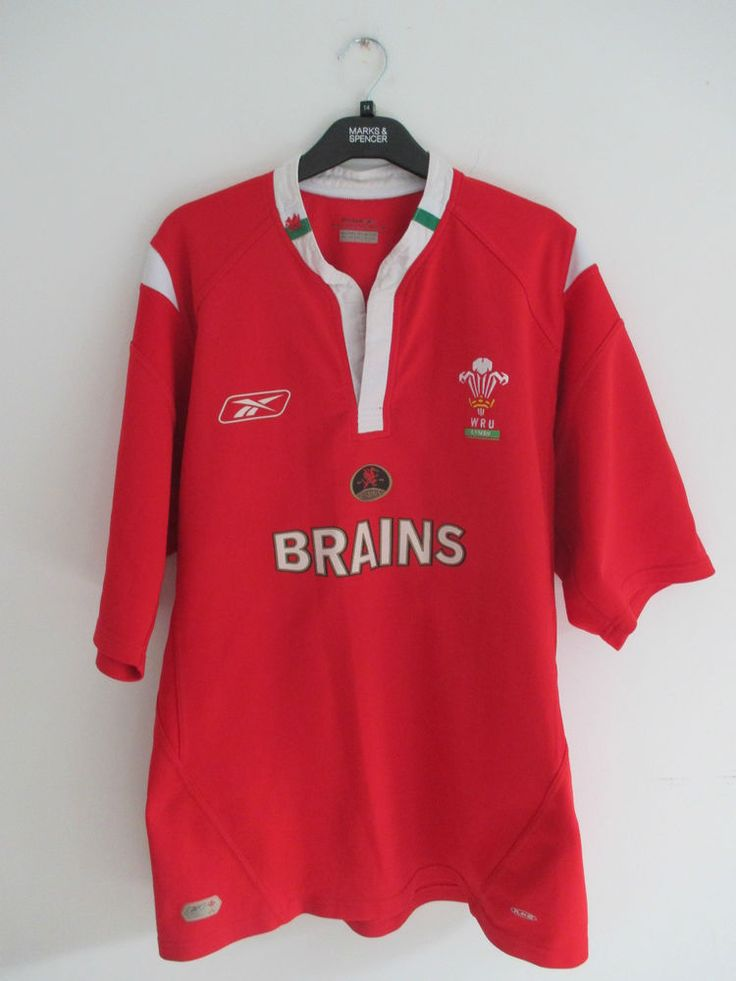 Vintage Reebok Wales rugby jersey WRU red size XL rugby shirt