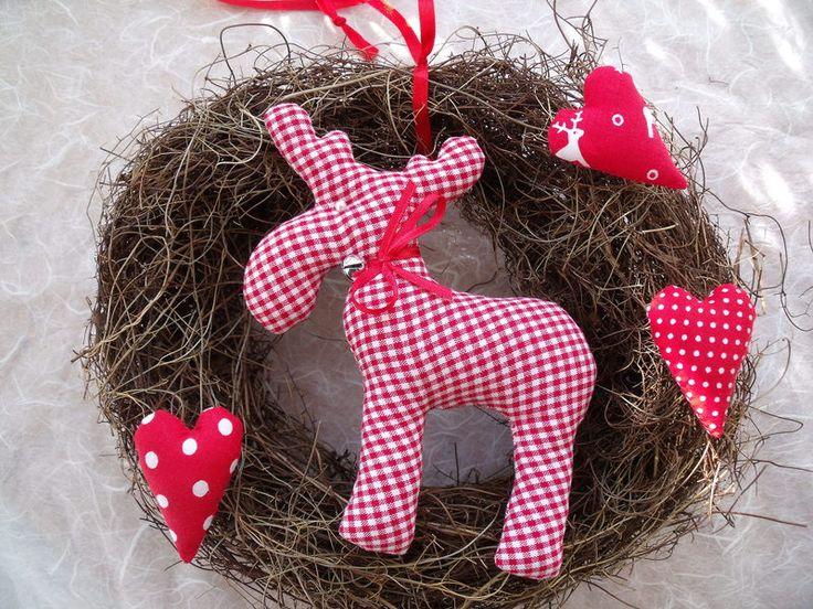Weihnachtsdeko - Weihnachtlicher Türkranz mit Elch....... - ein Designerstück von Funkellichter bei DaWanda