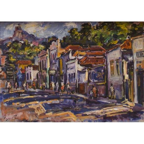 Sérgio Telles (1936) - Rio Comprido - Óleo sobre tela - 46 x 65 cm - 1987 - Assinado embaixo à esquerda e no verso (selo de exposição no Museu Nacional de Belas Artes - MNBA)