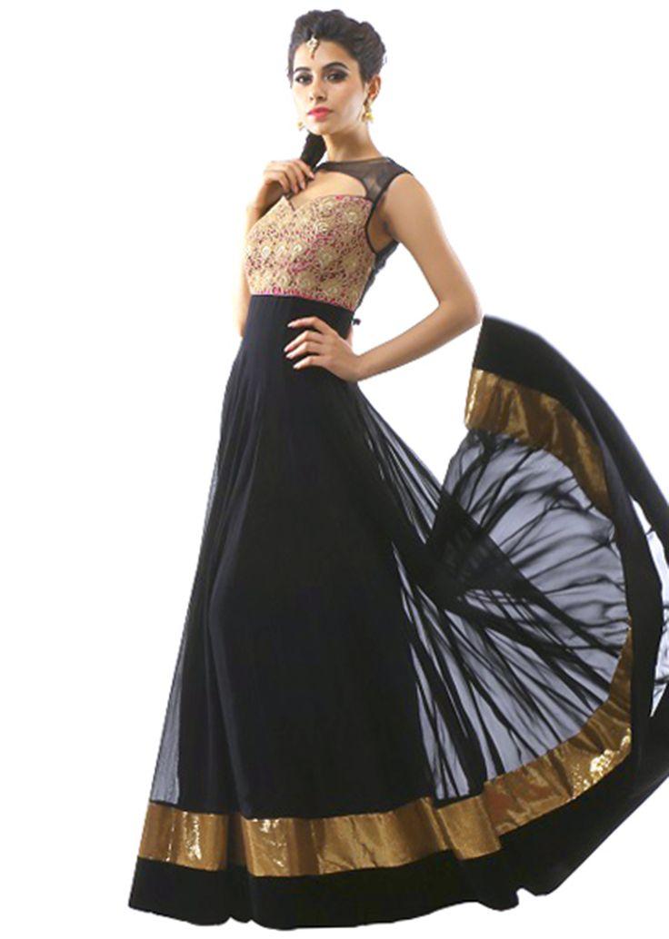 Black anarkali suit enhanced in zari and metal embellishment - Kalkifashion.com
