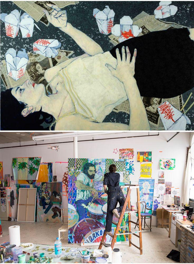 Hope Gangloff painting in her studio.    http://www.blouinartinfo.com/photo-galleries/inside-hope-gangloffs-studio?image=3