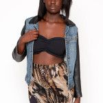 SOLD $89.00 Two tone studded denim jacket
