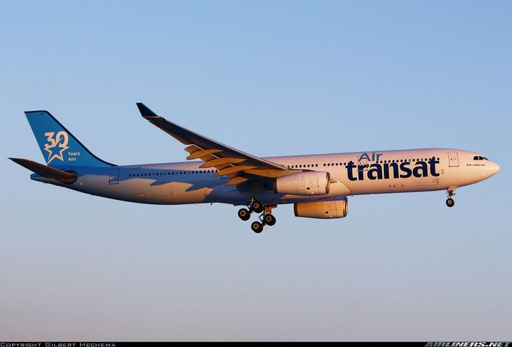 "Air Transat Airbus A330-342 C-GCTS on final approach to Montréal-Trudeau, March 2017. Special ""30 Years/Ans"" livery. (Photo: Gilbert Hechema)"