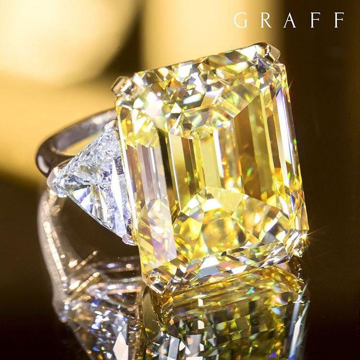"5,074 Likes, 160 Comments - Graff Diamonds (@graffdiamonds) on Instagram: ""A hypnotic 38.13 carat emerald cut Fancy Intense yellow diamond ring casts mesmeric scintillation…"""
