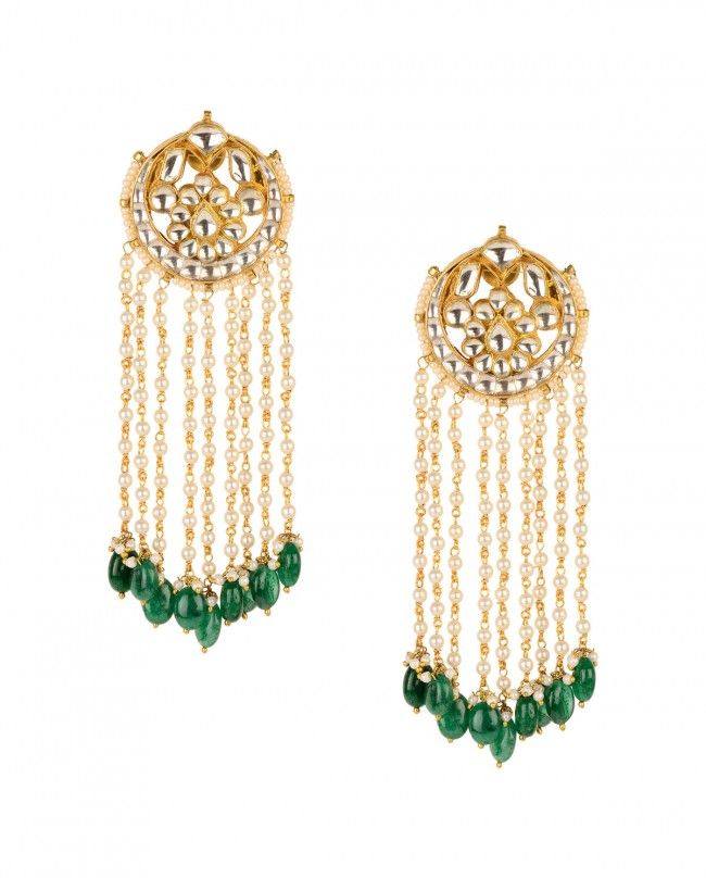 Kundan Chandelier Earrings with Green Drop - Preeti Mohan - Designers
