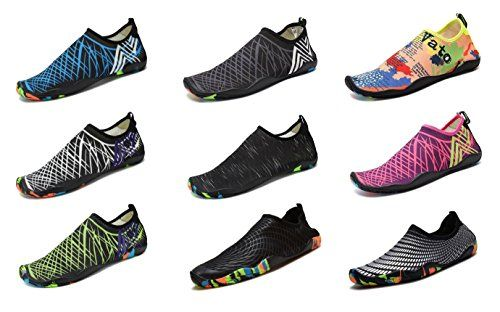 Water Shoes for Women Men,DENATER Barefoot Aqua Socks Quick-Dry Swim Shoes for Beach Pool Diving Snorkeling Surf-16 Drainage Holes  OCCASION -- Beach, swimming, pool, yoga, pilates, weight training, wake-boarding, sailing, parasailing, boating, kayaking, windsurfing, cycling jogging, walking, fishing, beach volleyball, garden, lawn, car-washing and driving.  QUICK-DRY -- The water socks are ultra-lightweight. You don¡¯t even feel anything but only freedom and comforts. Top-of-the-line ...