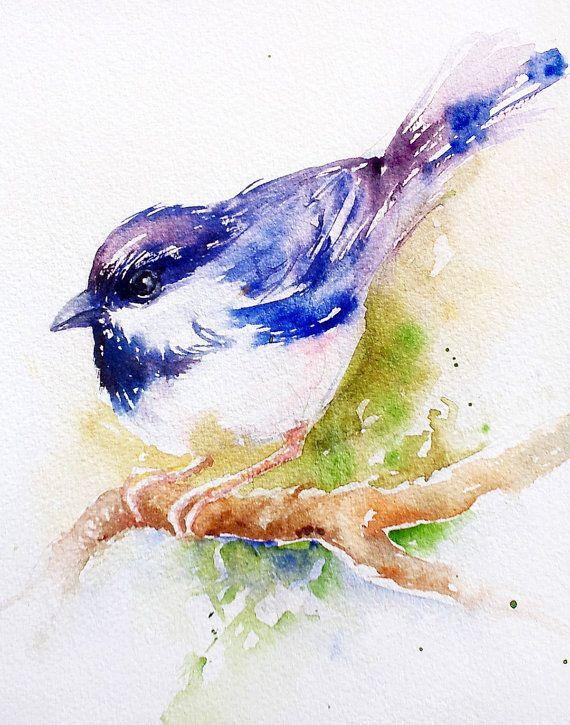 à tête oiseaux aquarelle originale peinture decoration murale