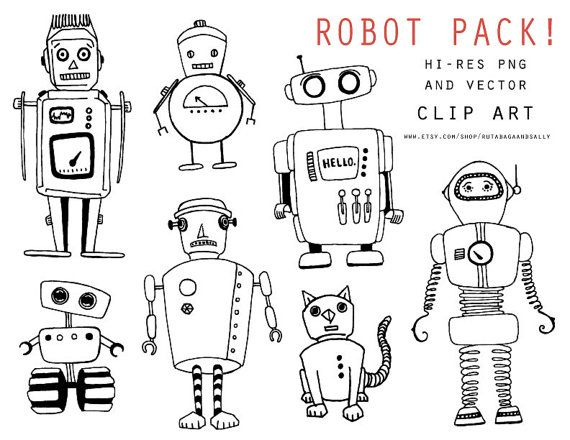 Download these quirky clip art ROBOTS from Rutabaga and Sally. Love the little cat character