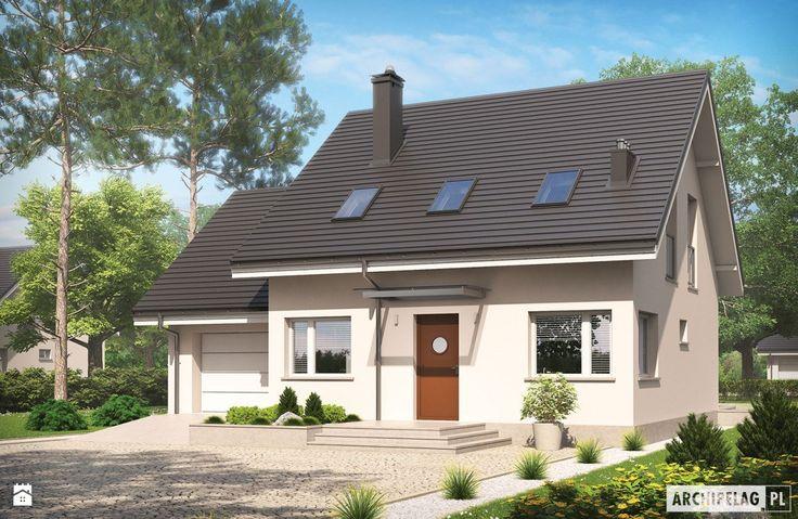 Projekt domu Leosia G1 ENERGO - widok od frontu - zdjęcie od Pracownia Projektowa ARCHIPELAG - Domy - Styl Minimalistyczny - Pracownia Projektowa ARCHIPELAG