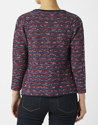 Our Scarlet smart jacket is knitted with bold colours and a hint of metallic thread for a stylish twist on a classically chic look. Fastening at its round ne...