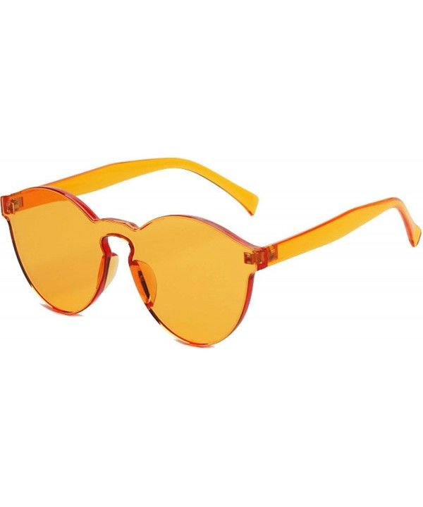 191d247d98b9 Fashion Rimless One Piece Clear Lens Color Candy Sunglasses - Orange -  CP183O3WIY9 - Men's Sunglasses, Square #Square #Men's #Sunglasses # #Square